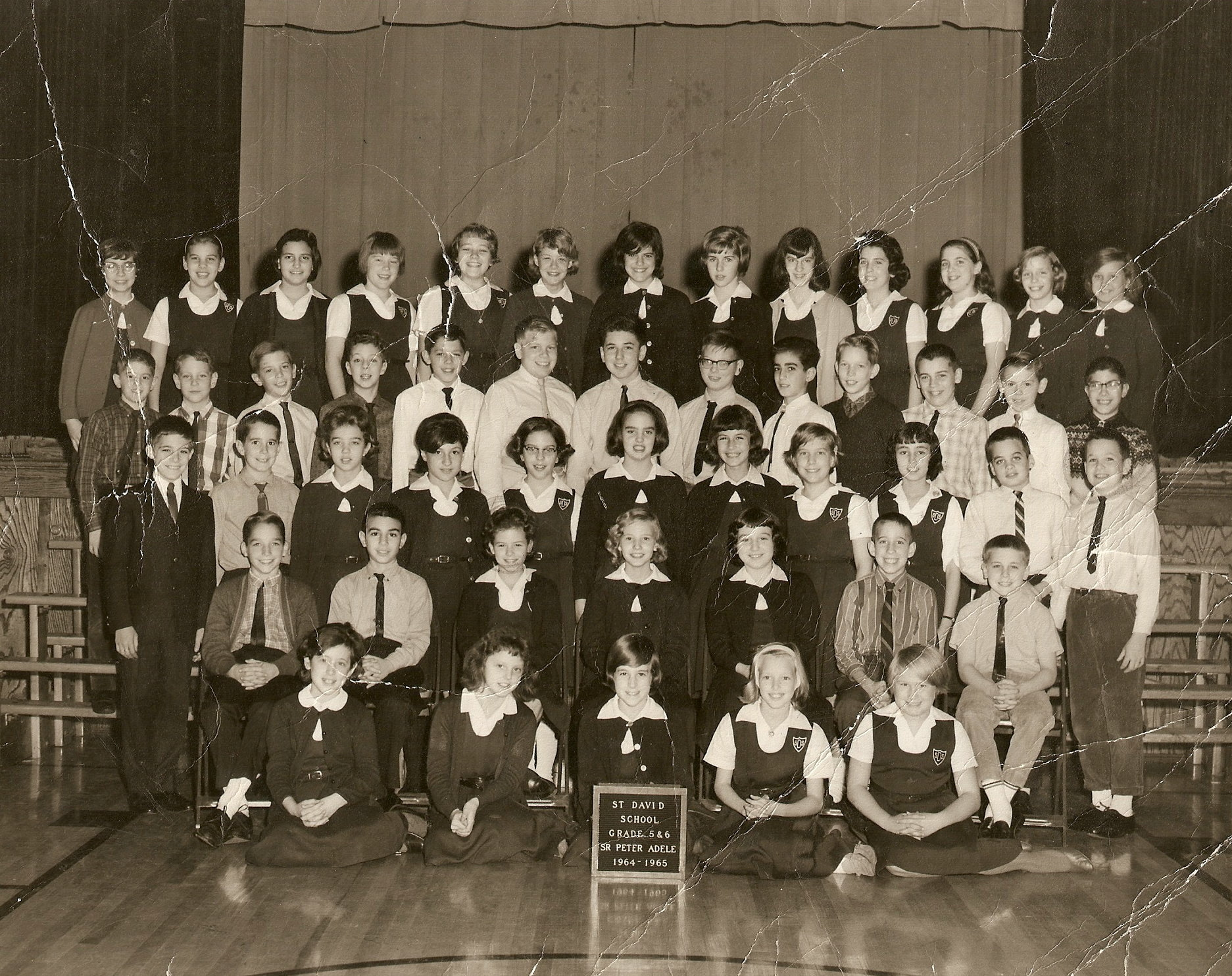 The class picture above shows Sr. Peter Adele's split 5th and 6th grade  class during the 1964-65 school year at Detroit St. David Elementary school.